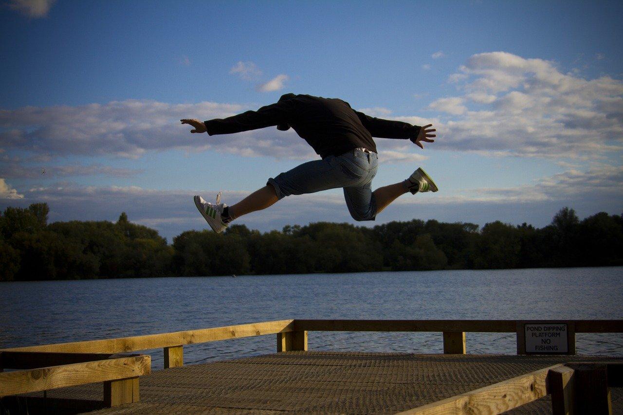 man, jumping, happy